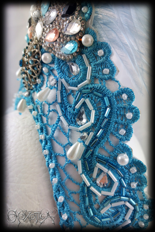 Burlesque Headdress Blue Beads