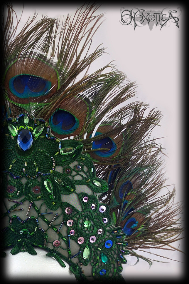 Peacock Feather Headress Green