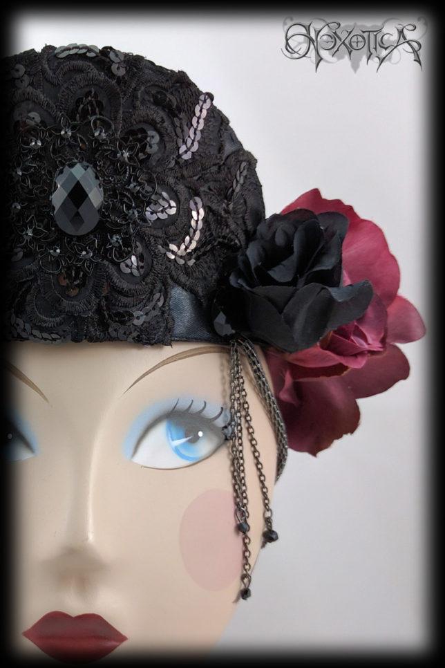 Black Tiara Red Flower Crown 'Gabrielle' by Hexotica