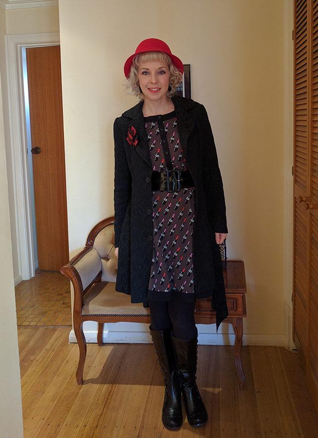 lipstick_dress_outfit_black_coat