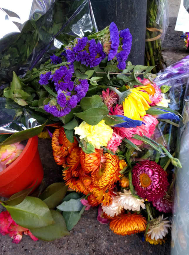 Cyclist Death Barkly Street memorial flowers