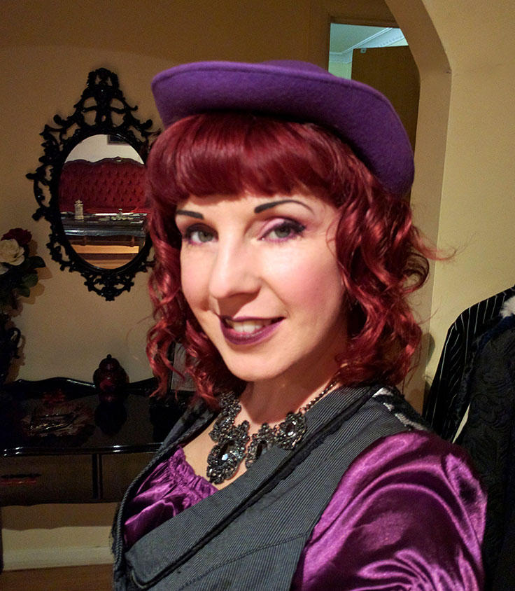 Alternative lifestyle blogger Christine of Hexotica in a quirky purple outfit