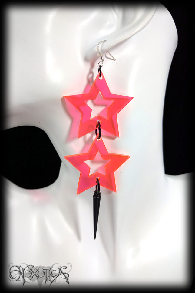 Neon Peach Orange Star and Spike Drop Earrings