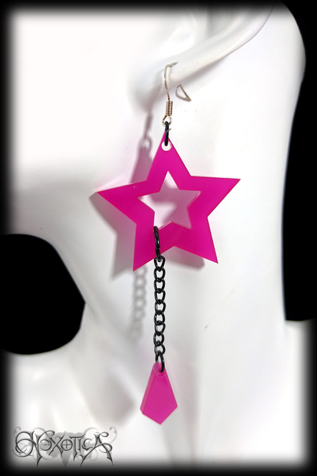 Hot Pink Star With Chain Drop Laser Cut Alternative Rock Chick Earrings