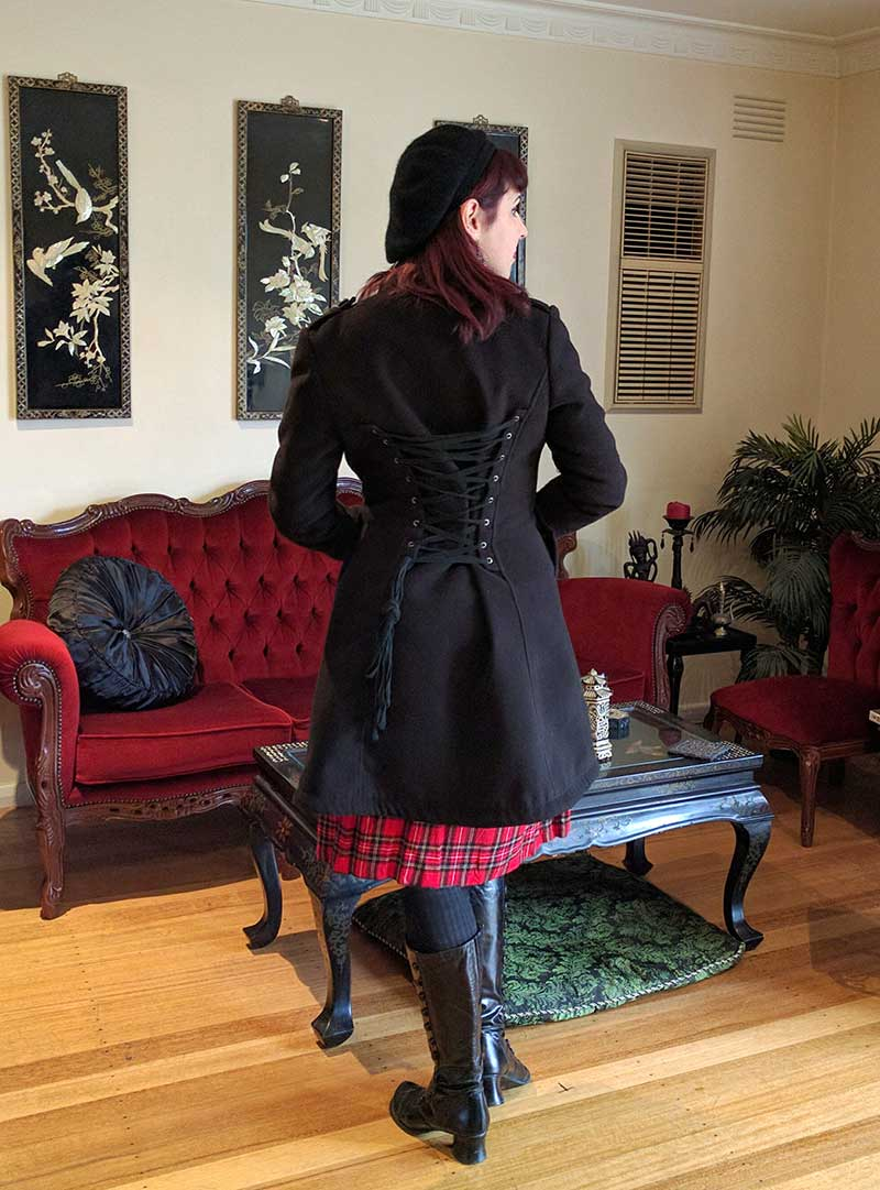 Hexotica blog red tartan dress and military gothic coat